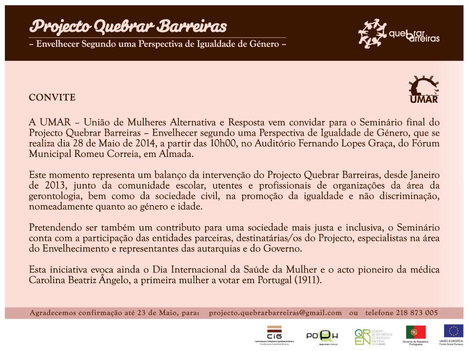 Convite: Seminário final do Projeto Quebrar Barreiras - Envelhecer segundo uma perspetiva de Igualdade de Género