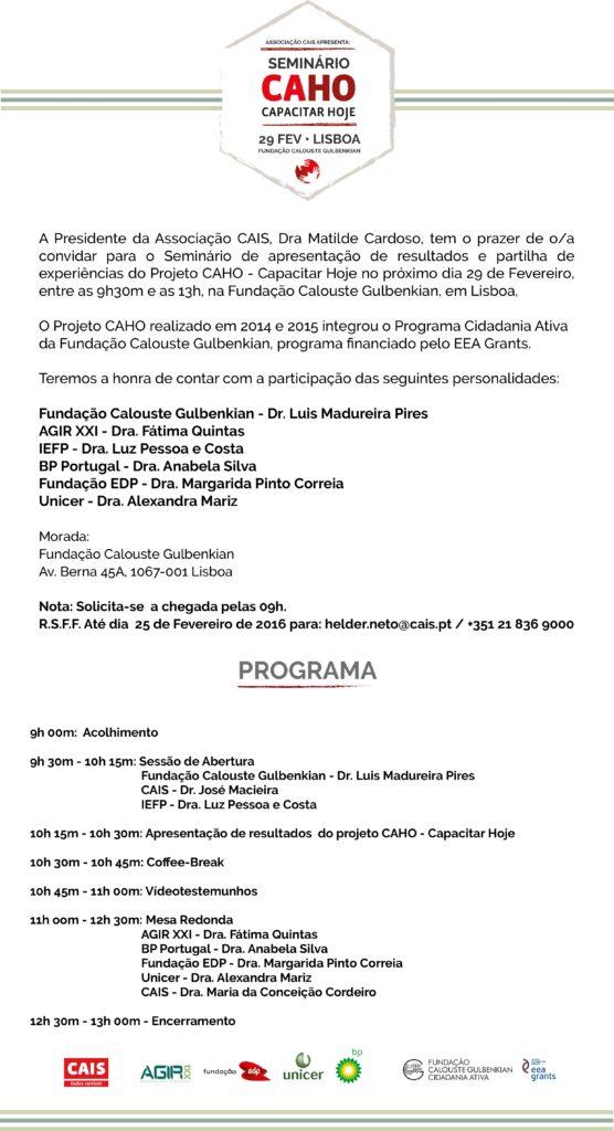 Convite Seminário Projeto CAHO - Capacitar Hoje